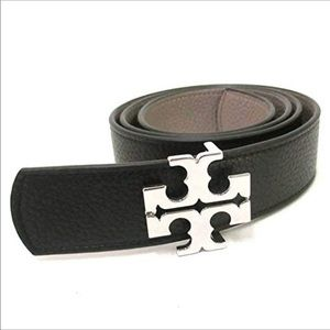 "Tory Burch Reversible Logo Belt Black/Grey 1.5"""